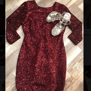 Wynn Sequin Dress- Solid Burgundy